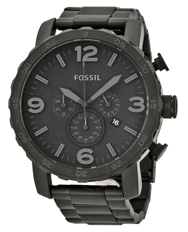 Fossil Nate Chronograph Black Stainless Steel Watch JR1401