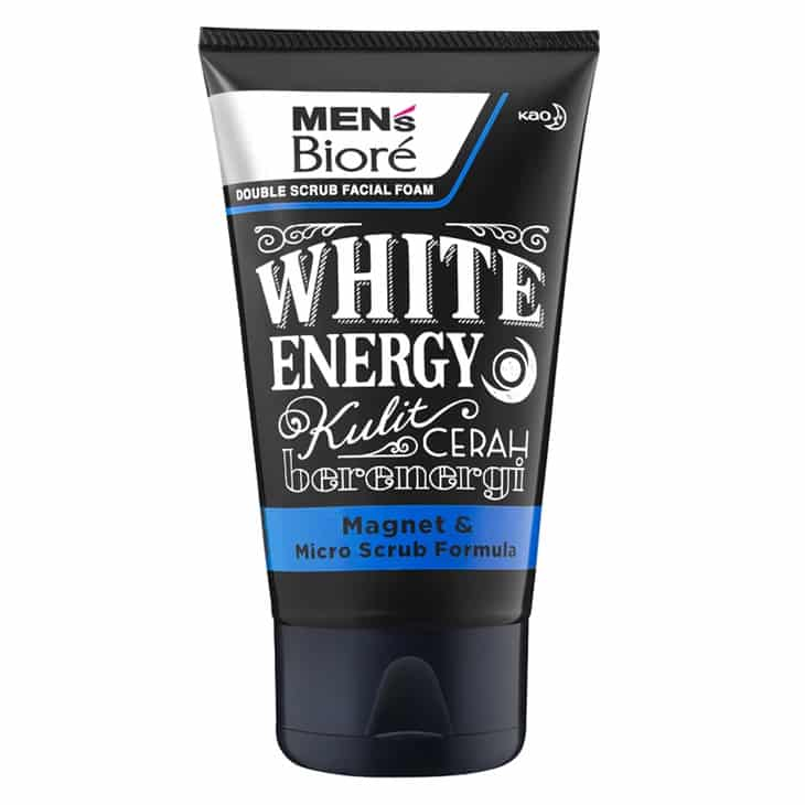 Mens Biore Double Scrub Facial Foam White Energy