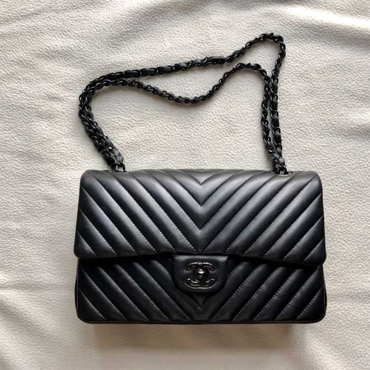 Chanel Chevron Classic So Black Lambskin