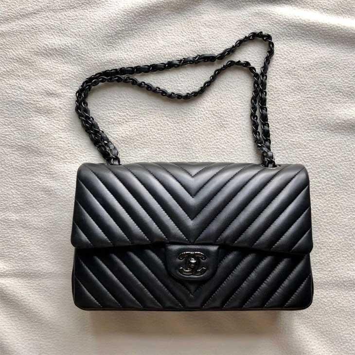Chanel Chevron Classic So Black Lambskin