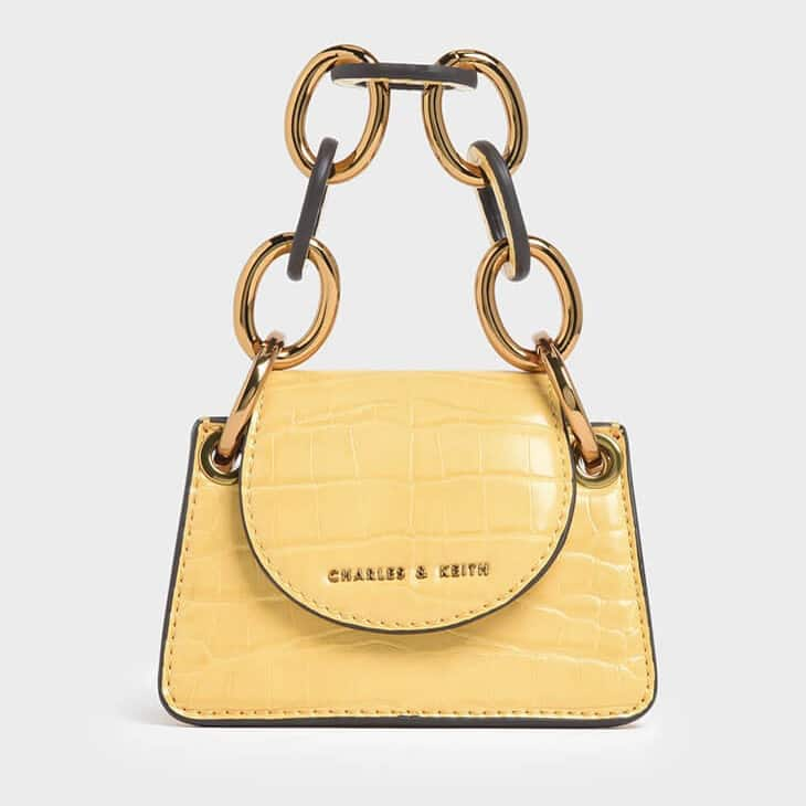 Charles and Keith Croc Effect Chunky Chain Handle Mini Bag
