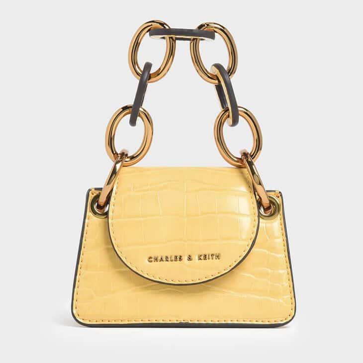 Charles and Keith Croc Effect Chunky Chain Handle Mini Bag